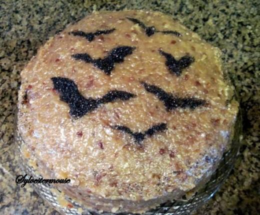 Stenciled Halloween Bat Cake
