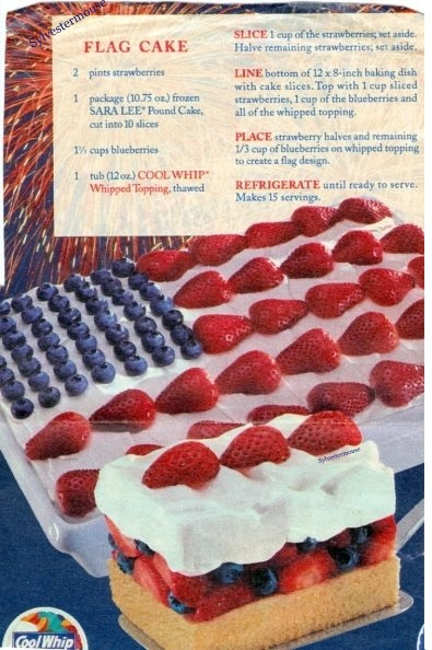 Red, White & Blue Flag Cake Recipe